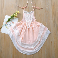 Toddler Children Princess Dress for Wedding Birthday Party Kids Clothes Summer Lace Flower Backless Girl Dresses