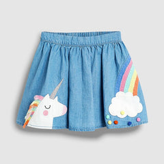 Summer Girls Denim Skirt Cartoon Unicorn Rainbow Pattern Cute Kids Skirts for 1 2 3 4 5 6 7 Year Children Costume