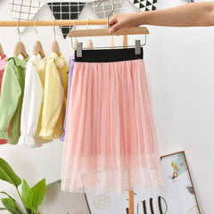 Toddler Teens Girl Pleated Skirt Solid Color Mesh Spring Summer Kids Skirt for 2 3 4 5 6 7 8 9 10 Year Children