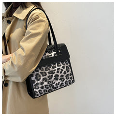 Vintage Women's Leopard Shoulder Bag Large Capacity Spring Summer Handbags for Woman Fashion Female Tote Bags