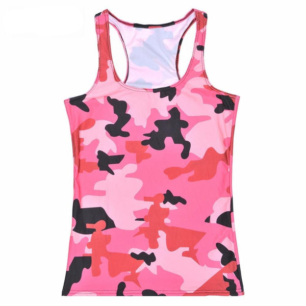 Summer Womens Blouses Strapless Sleeveless Digital Print Casual Strap Pink Camouflage Tank Tops Ladies' Vest