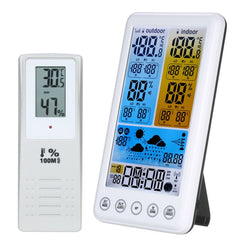 Wireless RCC Weather Station Weather Forecast Clock with Color LCD Screen Indoor Outdoor Thermometer Hygrometer Barometer