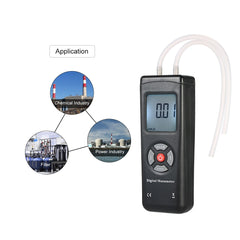 LCD Digital Dual-port Manometer Differential Air Pressure Gauges Tester with 11 Units of Measurement/±13.78kPa/±2psi