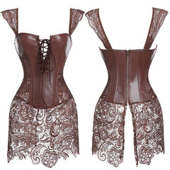 Women Bustiers & Corset Faux Leather Steampunk Corset Dress Lace Up Zipper Bustiers Top with Renaissance Skirt Burlesque Costume