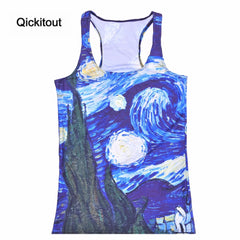 Summer Women's Blouses Strapless Sleeveless Digital Print Casual Planet Moon Comics Tank Tops Ladies' Vest
