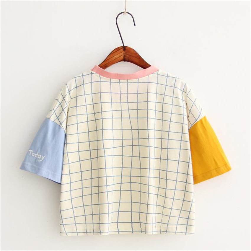 Patchwork Design T shirts Short Sleeve Casual Cotton Tops