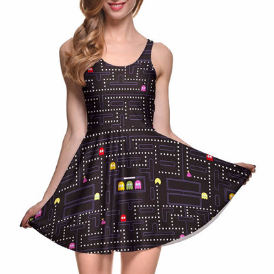 Fashion Women Casual Work Dresses Fit and Flare Digital Printing Muzman SKATER DRESS Vestidos