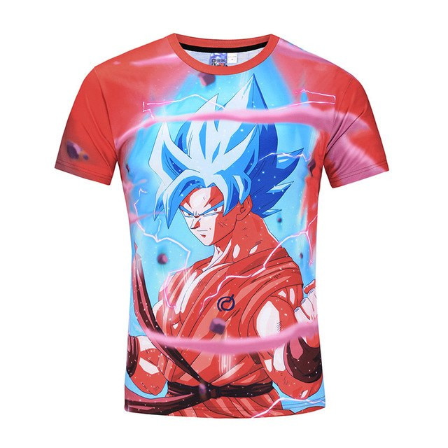 Hot Red Dragon Ball Z Super Saiyan Goku 3D Anime Tee Shirt
