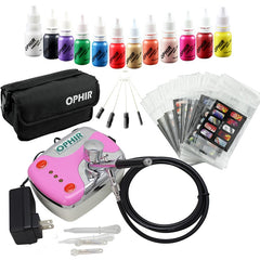 0.3mm Nail Airbrush Kit with Air Compressor 12 Nail Inks 20x Nail Art Stencils & Bag & Cleaning Brush Nail Tools_OP-NA001P