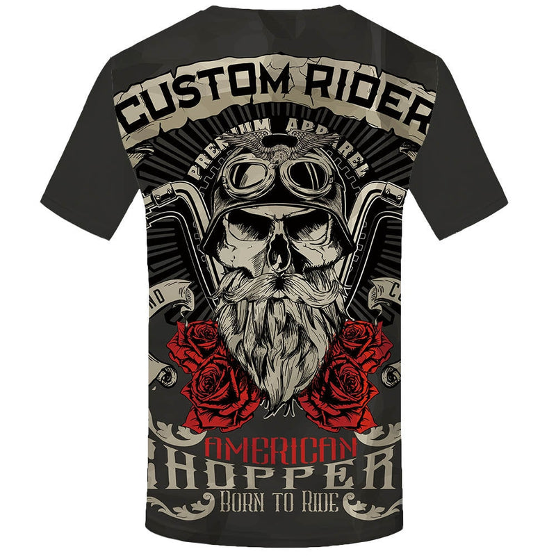 Men  Rock Vintage Hip Hop Summer Motorcycle Punk  3d T Shirt