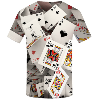 New men's Poker 3d print Funny t-shirt  Tops-Vimost Sports