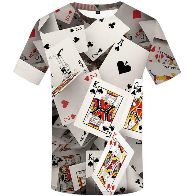 New men's Poker 3d print Funny t-shirt  Tops