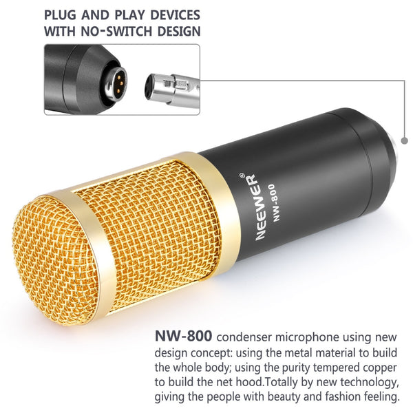 Professional Condenser Microphone Kit:Microphone For Computer+Shock Mount+Foam Cap+Cable As BM 800 Microphone