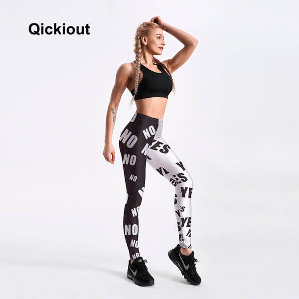 Hot Women's White&Black sweatpants Letter Yes&No Simple Styles Fashion Lady skinny printed stretch Leggings