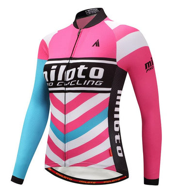 Women Long Sleeve Thermal Fleece Cycling Clothing-Vimost Sports