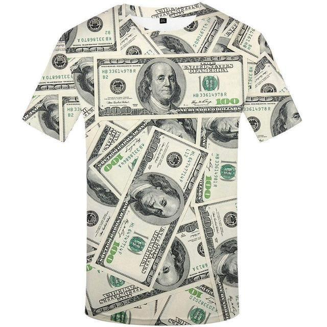 Men Gothic 3d T-shirt Funny THip Hop Dollar T Shirt