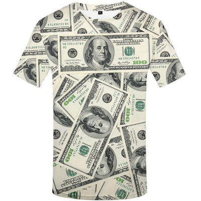 Men Gothic 3d T-shirt Funny THip Hop Dollar T Shirt-Vimost Sports