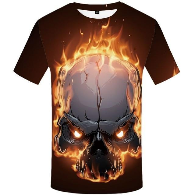 Men Space Skull Fire Graphic 3d Print T-shirt  Summer New