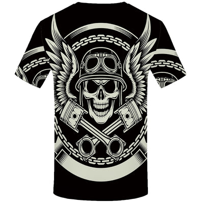 Men Black Skull  Hip Hop Casual Gothic 3d Printed Tshirt-Vimost Sports