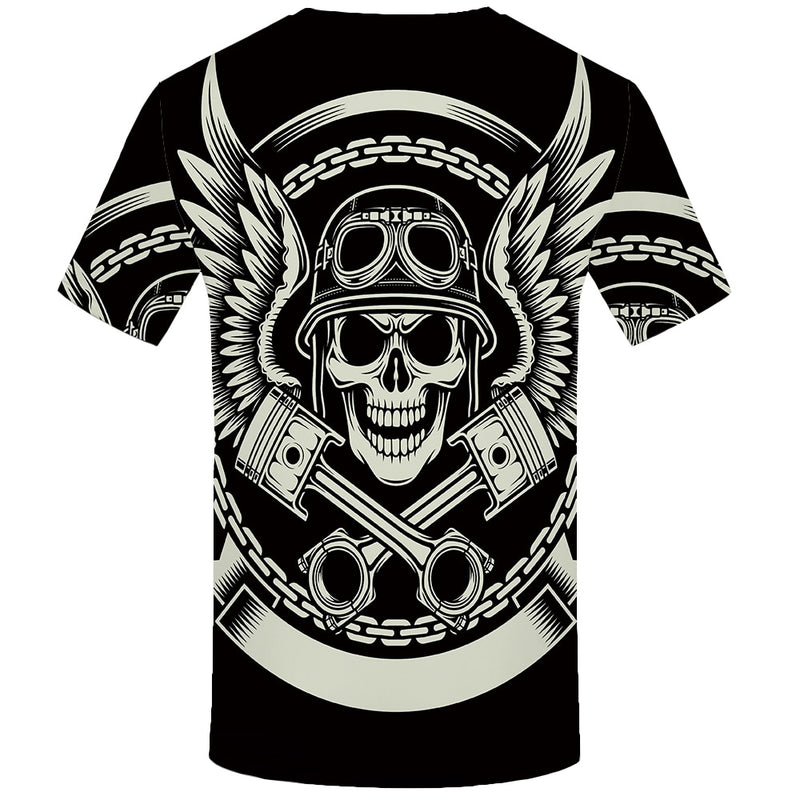 Men Black Skull  Hip Hop Casual Gothic 3d Printed Tshirt