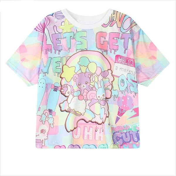Women Harajuku Letters Printed T-Shirts Casual Loose