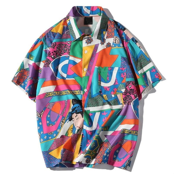 Harajuku Hip Hop Color Block Short Sleeve Shirt
