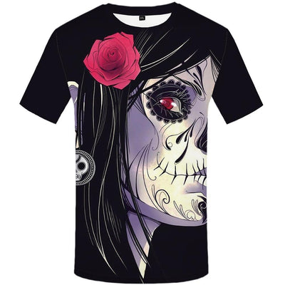 Skull  Beauty Rose  Punk Rock Clothes Anime 3d Print T-shirt-Vimost Sports