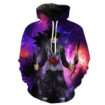 New Women/Men Cool Black Goku Pocket Hooded Sweatshirt-Vimost Sports