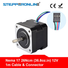 Nema 17 Stepper Motor 34mm 26Ncm(36.8oz.in) 0.4A 12V Nema17 Step Motor 42BYGH 4-lead CNC Reprap 3D Printer