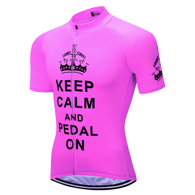 Keep CALM AND RIDE ON cycling jersey short sleeve