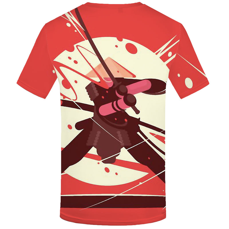 Men Ninja War Print Moon Casual 3d T-Shirt
