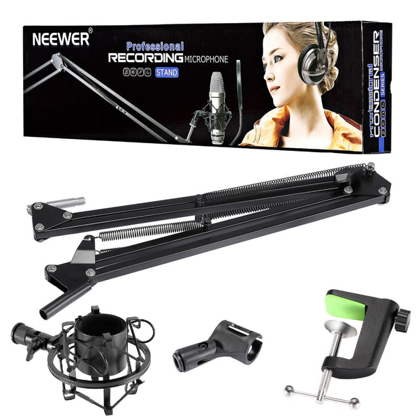 Neewer Adjustable Microphone Suspension Boom Scissor Arm Stand with Universal Microphone Shock Mount Holder for Broadcasting