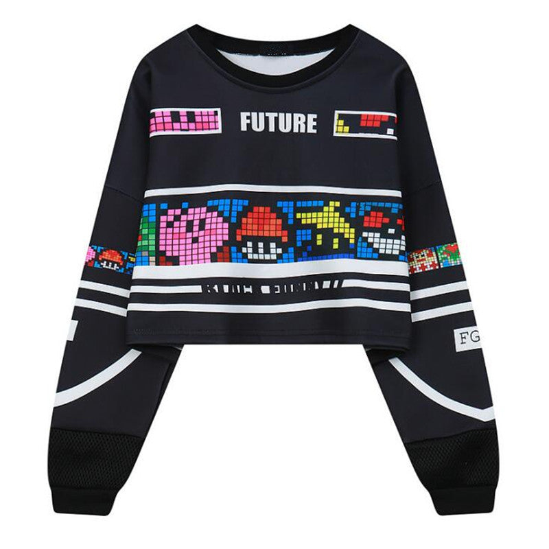 Long Sleeve Hollow Out Patchwork Printed Sweatshirt