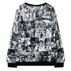 Woman Harajuku Anime Portrait Print Sweatshirts