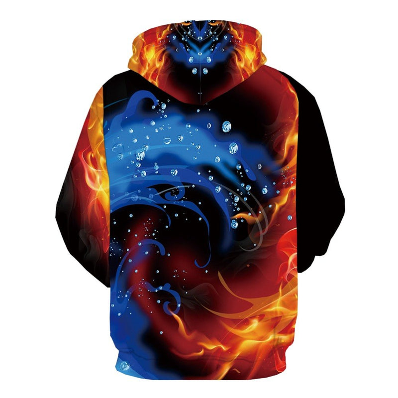 Fire 3d Printed Harajuku Casual Psychedelic Hoodie