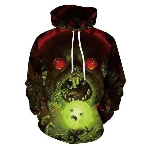 Men Halloween Pumpkin 3D Print Black Hoodie-Vimost Sports
