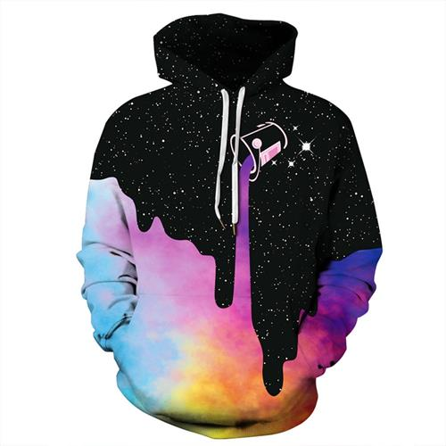 Plus Size Space Galaxy Pour Milk Hoodies Men Women