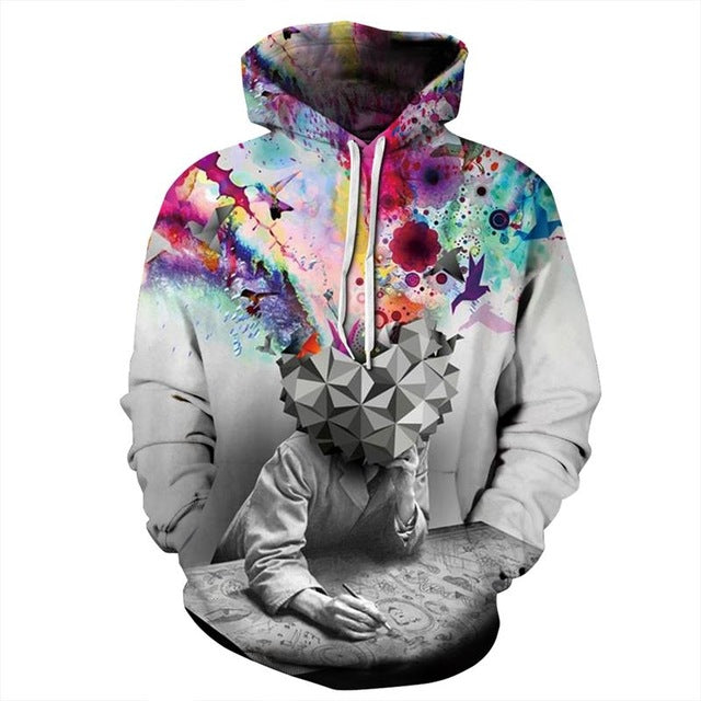 New Colorful Paint Brainstorming Thinker Printing 3D Hoodies