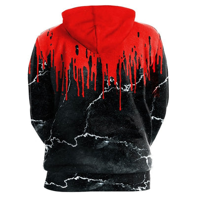 New Fashion Punk Red Flower 3D Sweatshirts Women Men-Vimost Sports