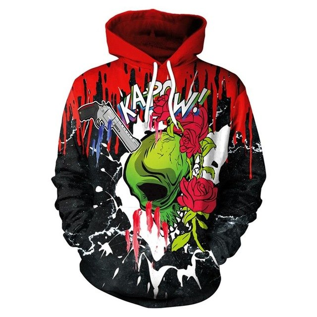 New Fashion Punk Red Flower 3D Sweatshirts Women Men