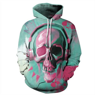 Green Skull 3d Print Punk Long Sleeve Sweatshirts-Vimost Sports
