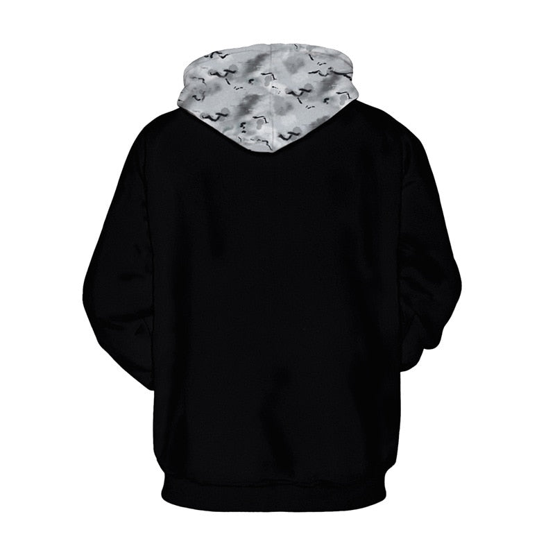 Plus Size Skull 3D Hooded Sweatshirt Long Sleeve