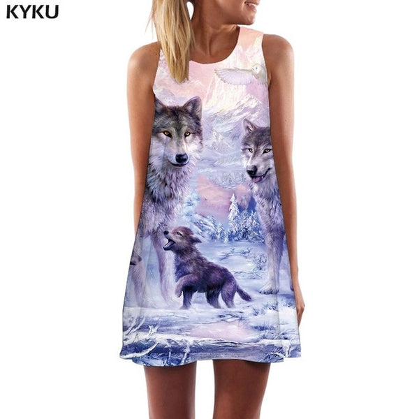 Wolf Dress Women Love Tank Animal Beach Forest Mini Mountain Boho