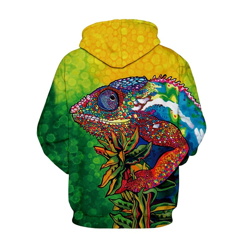 Plus Size 3D  Green Frog Hoodies Sweatshirts