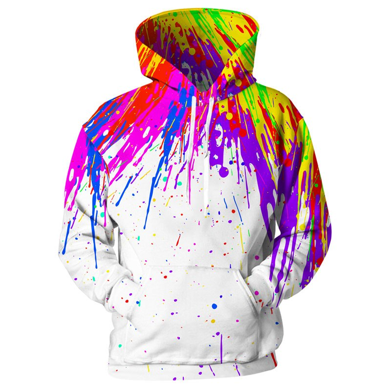 3d print harajuku Splash Paint Print Rainbow Hoodies