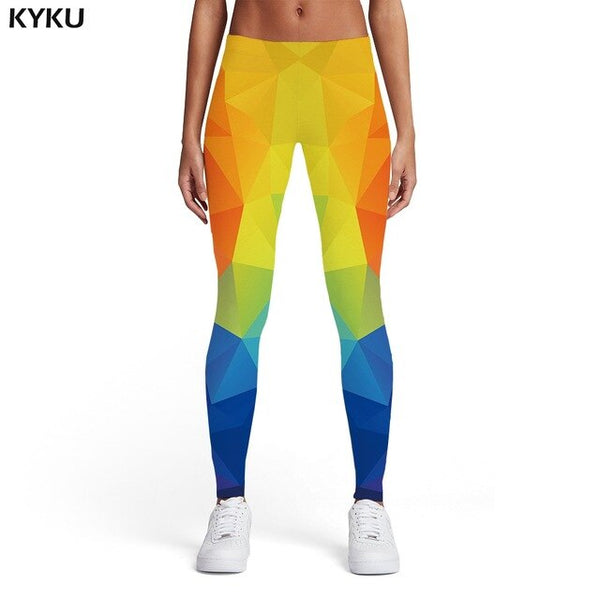 Geometric Leggings Women Colorful Spandex Vintage Sexy Rainbow Ladies Graphics Trousers