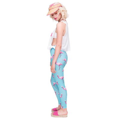 New Fashion Women Legging Cyan Flamingo Printing Leggings High Quality High Waist Woman Pants