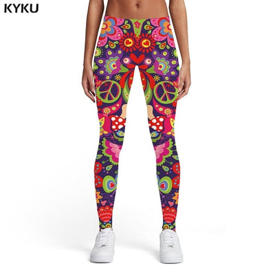 3d Print Dizziness Elastic Gothic Trousers Rainbow Spandex Womens Leggings Pants