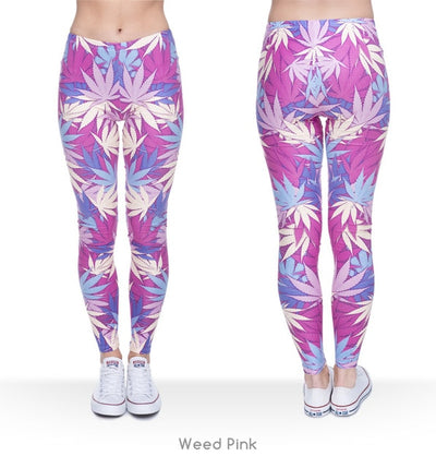 Women Weeds Print Pink Fitness Legging Silm Stretch Leggins High Waist Legins Trouser Casual Pants