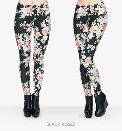 Fashion Flowers Printing Legging Punk Women Legins Stretchy Trousers Casual Women Pants Leggings